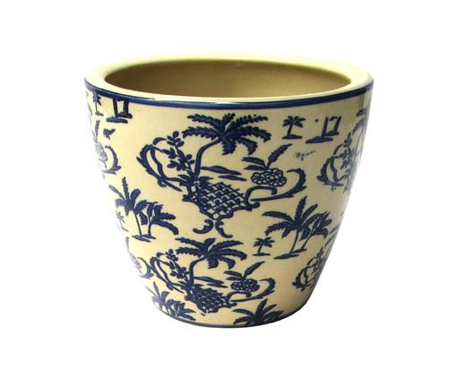 Cachepot de Cerâmica Isabella II - Branco e Azul, Branco, Azul | WestwingNow