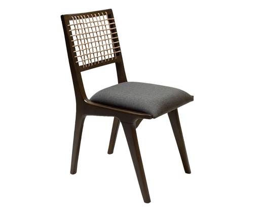 Cadeira com Encosto em Couro Bell - Marrom e Cinza, Cinza | WestwingNow