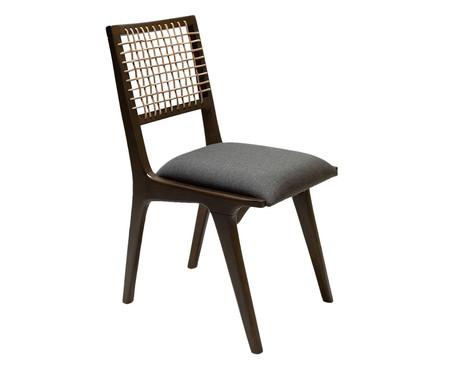 Cadeira com Encosto em Couro Bell - Marrom e Cinza   WestwingNow