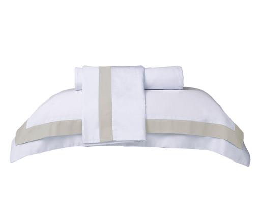 Jogo de Lençol Cetim Naturalle Fashion St. Germain 300 fios - Branco e Bege, Branco e Bege | WestwingNow
