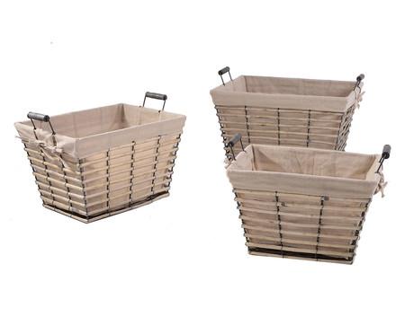 Jogo de Cestos Organizadores Fred em Bambu, Metal e Rattan - Bege | WestwingNow