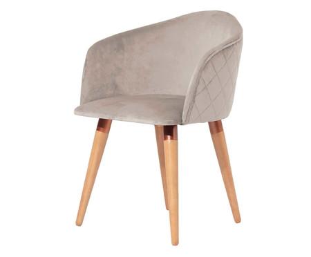 Cadeira em Veludo e Madeira Kari Ta - Bege | WestwingNow