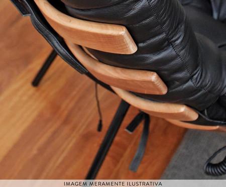 Poltrona Costela com Massageador e Pufe em Couro - Preta | WestwingNow