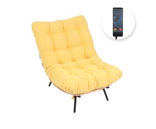 Poltrona Costela com Massageador - Amarela e Preta, Amarelo | WestwingNow