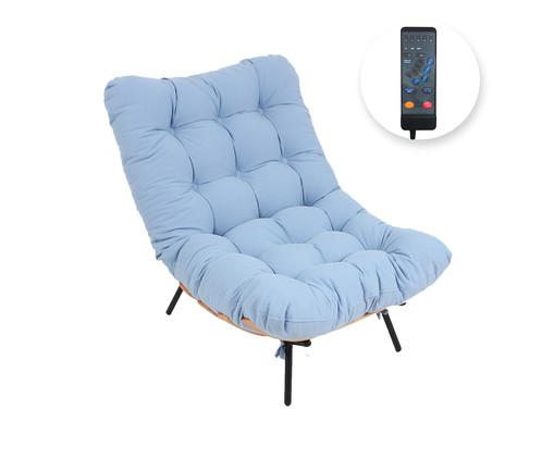 Poltrona Costela com Massageador - Azul Vintage e Preta, Azul | WestwingNow
