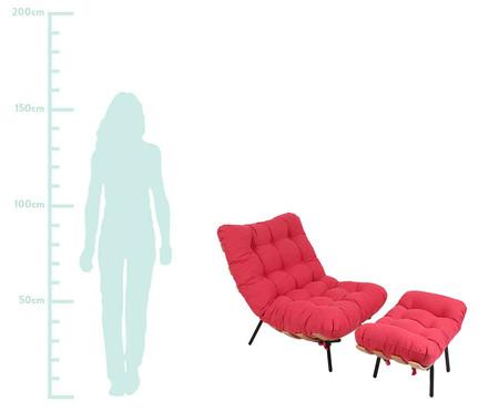 Poltrona Costela com Massageador e Pufe - Vermelha e Preta | WestwingNow