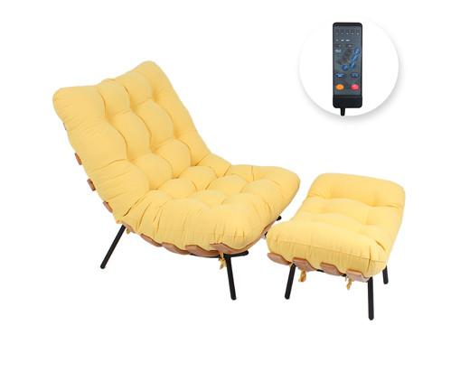 Poltrona Costela com Massageador e Pufe - Amarela e Preta, Amarelo | WestwingNow