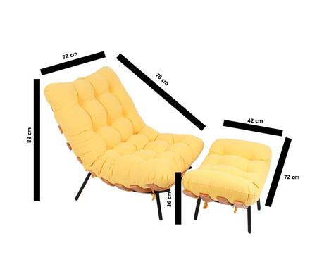 Poltrona Costela com Massageador e Pufe - Amarela e Preta | WestwingNow