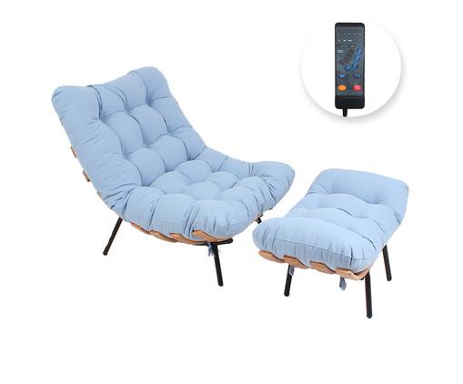 Poltrona Costela com Massageador e Pufe - Azul Vintage e Preta, Azul | WestwingNow