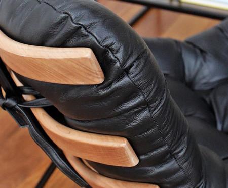 Poltrona Costela com Massageador e Pufe - Cru e Preta | WestwingNow