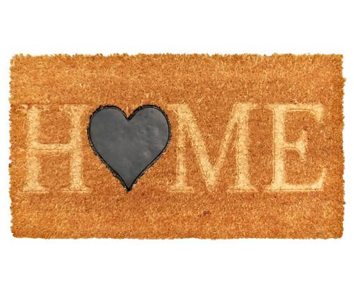 Tapete Capacho Fibra de Coco Ruby Home Coração - Bege, Natural | WestwingNow