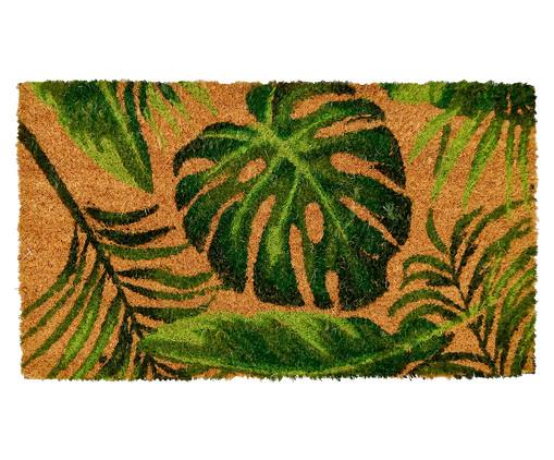 Tapete Capacho Costela de Adão Fibra de Coco - Bege e Verde, Verde e Natural | WestwingNow