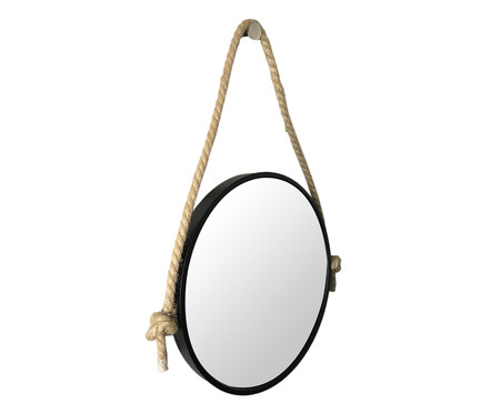 Espelho de Parede com Alça Adnet Rope Aly - Preto | WestwingNow