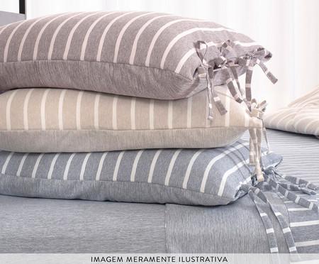 Fronha Dupla Face com Laços Chambre - Azul Jeans | WestwingNow