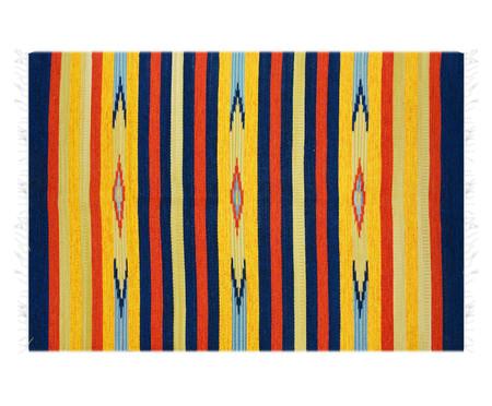 Tapete Indiano Kilim Janak em Algodão - Amarelo e Azul | WestwingNow