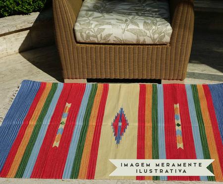 Tapete Indiano Kilim Quebreu Algodão - Vermelho e Amarelo | WestwingNow