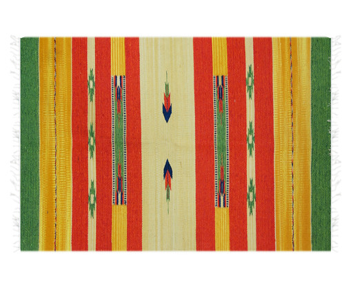 Tapete Indiano Kilim Lakshmi - Amarelo e Verde, Amarelo e Verde | WestwingNow