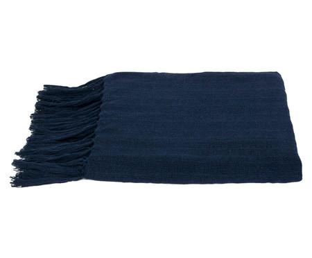 Manta de Algodão com Franja Naturale - Azul Marinho | WestwingNow