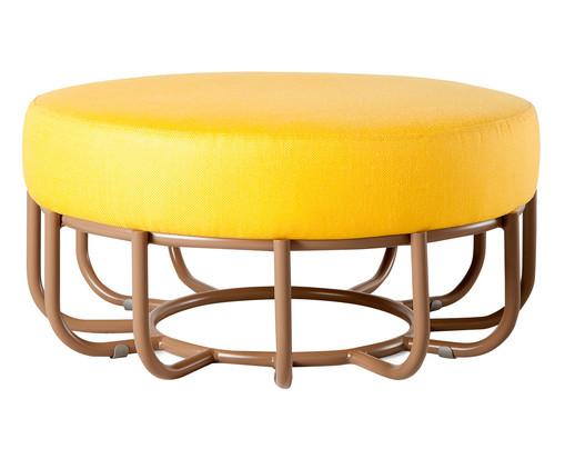 Pufe Redondo de Madeira Cesta - Amarelo, amarelo   WestwingNow