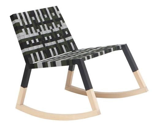 Cadeira de Balanço em Madeira e Fita Náutica Siri - Colorida, preto   WestwingNow