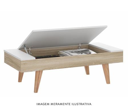 Mesa de Centro Retangular com Tampo Basculante Leaves - Natural e Branca | WestwingNow
