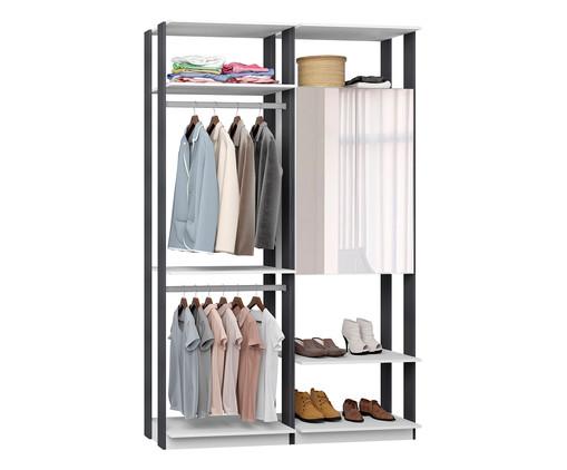 Guarda-Roupa com Espelho e Cabideiro Closet Clothes - Branco e Preto, Branco, Marrom | WestwingNow