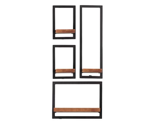 Jogo de Prateleiras Tetris V - Natural e Preta, Natural, Preto | WestwingNow