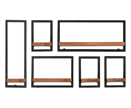 Jogo de Prateleiras de Madeira Tetris VI - Natural e Preta | WestwingNow
