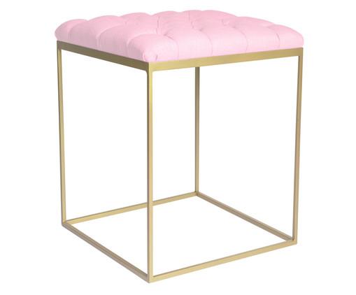 Banquinho em Ferro Cubo - Dourado e Rosa, Rosa | WestwingNow