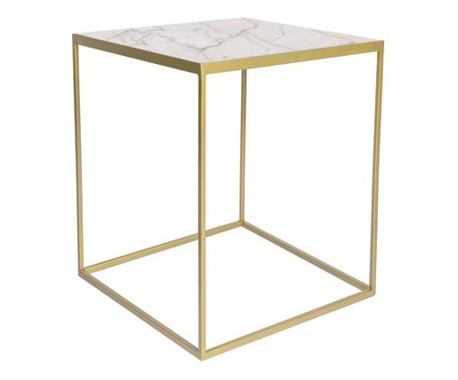 Mesa Lateral Modern - Dourada e Branca, Branco | WestwingNow
