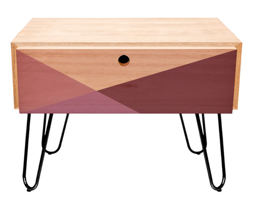 Mesa Lateral Wood Geometric - Rosa, Natural, Rosa | WestwingNow