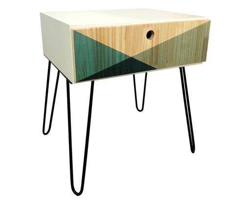 Mesa Lateral Wood Geometric - Verde Musgo, Natural, Verde | WestwingNow