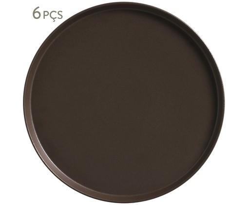 Jogo de Pratos Rasos em Cerâmica Neo Oak - 06 Pessoas, Marrom   WestwingNow