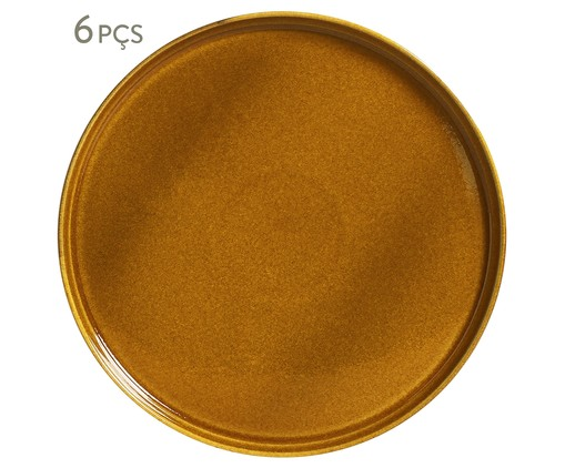 Jogo de Pratos para Sobremesa em Cerâmica Neo Âmbar - 06 Pessoas, laranja | WestwingNow
