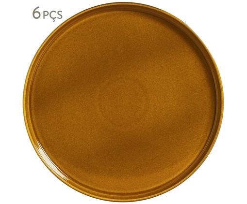 Jogo de Pratos Rasos em Cerâmica Neo 06 Pessoas -  Âmbar, laranja | WestwingNow