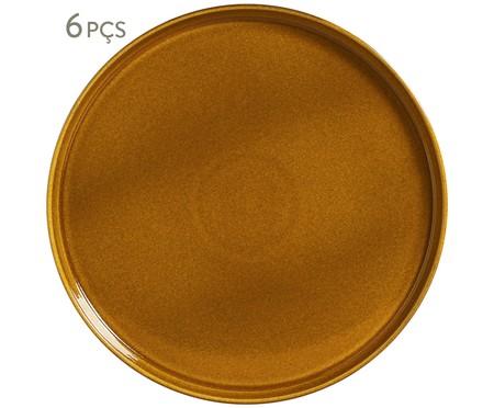 Jogo de Pratos Rasos em Cerâmica Neo 06 Pessoas -  Âmbar | WestwingNow