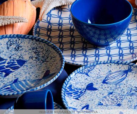 Jogo de Pratos para Sobremesa em Cerâmica Coup Fish - Azul | WestwingNow
