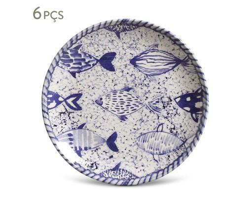 Jogo de Pratos para Sobremesa em Cerâmica Coup Fish 6 Pessoas - Estampado, Branco,Azul | WestwingNow