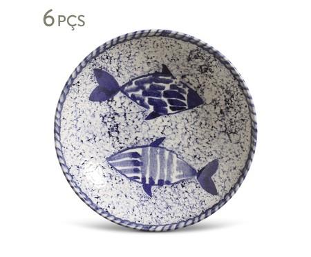 Jogo de Pratos Fundos em Cerâmica Coup Fish 6 Pessoas - Estampado | WestwingNow
