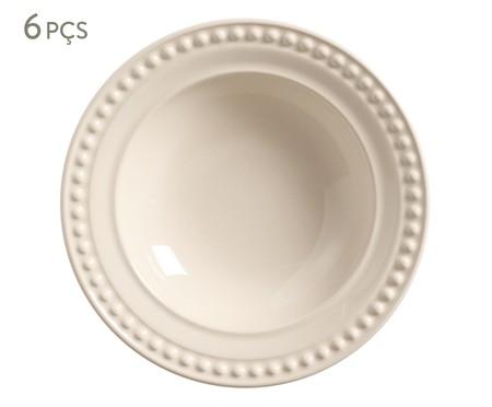 Jogo de Pratos Fundos em Cerâmica Atenas - Cru | WestwingNow