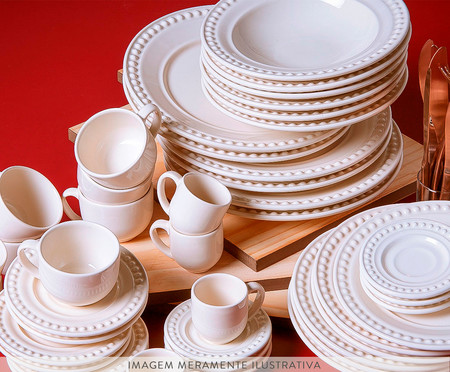 Jogo de Pratos Fundos em Cerâmica Atenas Cru - 06 pessoas | WestwingNow