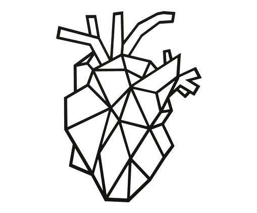 Placa de Madeira Decorativa Coração Realista - Preta, preto | WestwingNow
