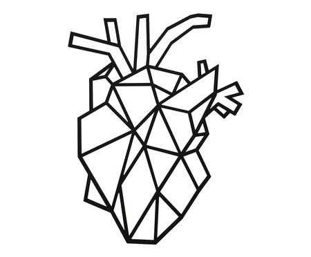 Placa de Madeira Decorativa Coração Realista - Preta | WestwingNow