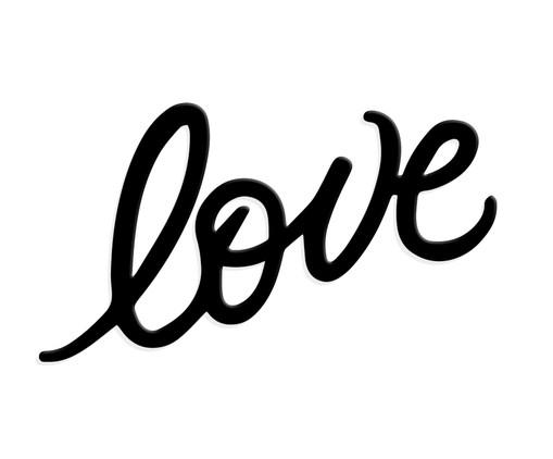 Placa de Madeira Decorativa Lettering Love - Preta, preto | WestwingNow