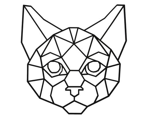 Placa de Madeira Decorativa Gato Geométrico - Preta, preto | WestwingNow