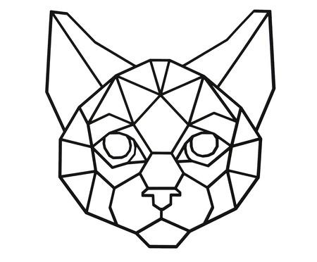 Placa de Madeira Decorativa Gato Geométrico - Preta | WestwingNow