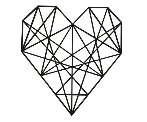 Placa de Madeira Decorativa Coração Geométrico - Preta, preto | WestwingNow