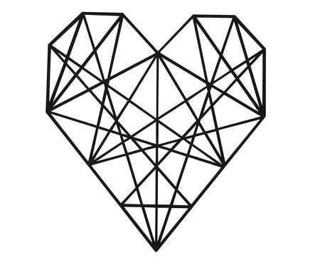 Placa de Madeira Decorativa Coração Geométrico - Preta | WestwingNow