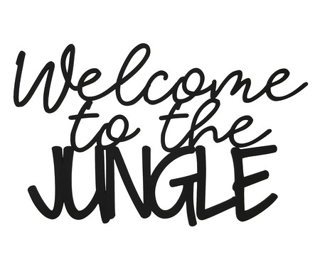 Placa de Madeira Decorativa Welcome To The Jungle - Preta | WestwingNow
