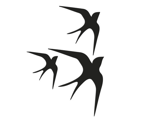 Placa de Madeira Decorativa Andorinhas - Preta, preto | WestwingNow